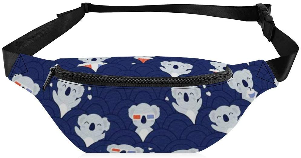 Waist Bag for Women Men Happy Koal Pattern Fanny Pack with Adjustable Belt Crossbody for Workout Exercise Party Travel Hiking Walking Cycling