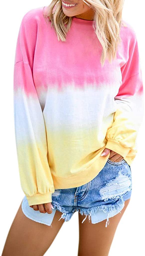 Sweatshirts for Women Crewneck,Gradient Casual Color Block Long Sleeve Sweatshirts T Shirts Round Neck Blouses Tops