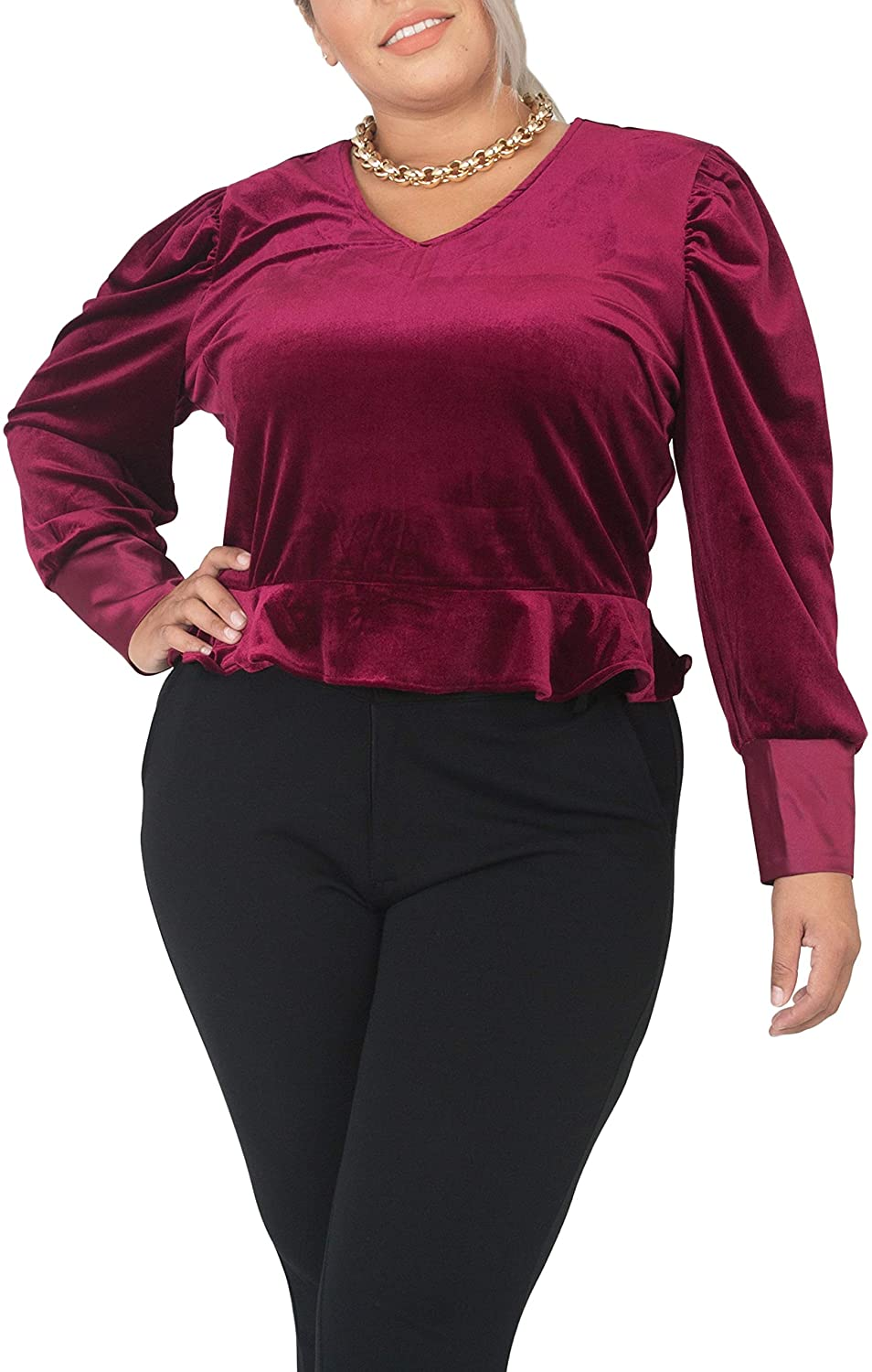 Standards & Practices Plus Size Deep Red Stretch Velvet Peplum Top