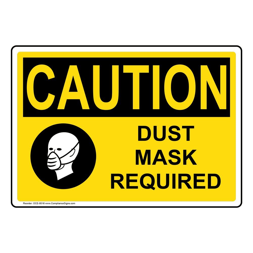 Caution Dust Mask Required OSHA Safety Label Decal, 5x3.5 in. Vinyl 4-Pack for PPE by ComplianceSigns