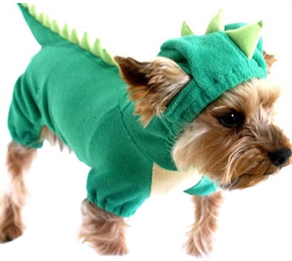 Fenta Pet Dogs Puppy Christmas Pajamas Clothing Dinosaur Dress Up Hoodie Jumpsuit Coats Costume