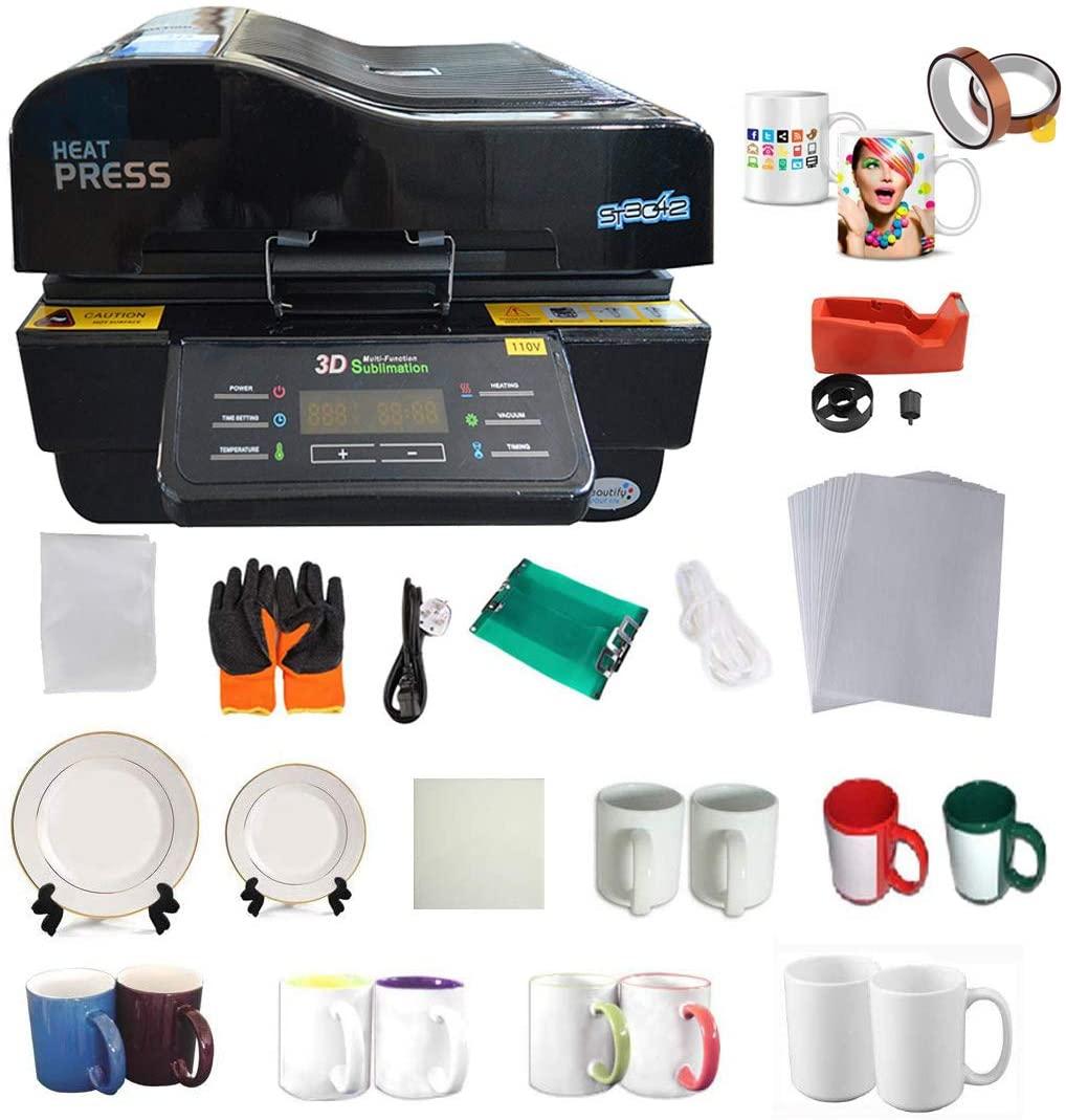3D Vacuum Heat Press Machine Sublimation Transfer Mug Plate Tile T-Shirt Tape Printing Business