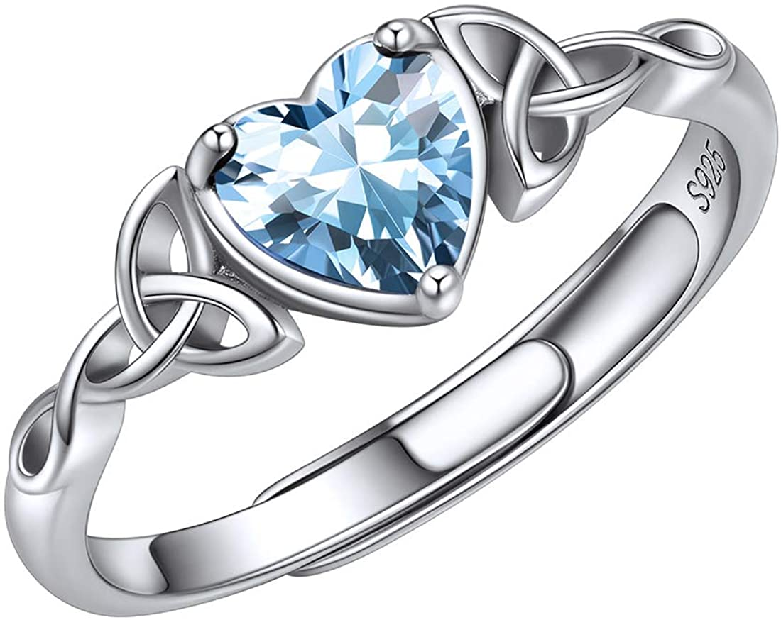 ChicSilver 6mm Heart Shape Sparkling Birthstone White Gold Plated 925 Sterling Silver Celtic Knot Ring Adjustable(with Gift Box)