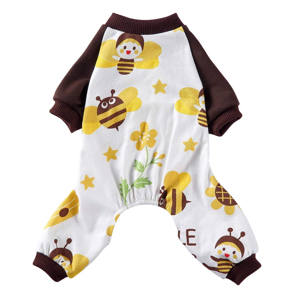 Jinpet Dog Pajamas Jumpsuit Clothes Cartoon Bee and Rainbow Puppy Pajamas Small Dog Jumpsuit Cotton Dog Clothes Soft Pet Pajamas Jumpsuit Clothes for Small Dogs Cats