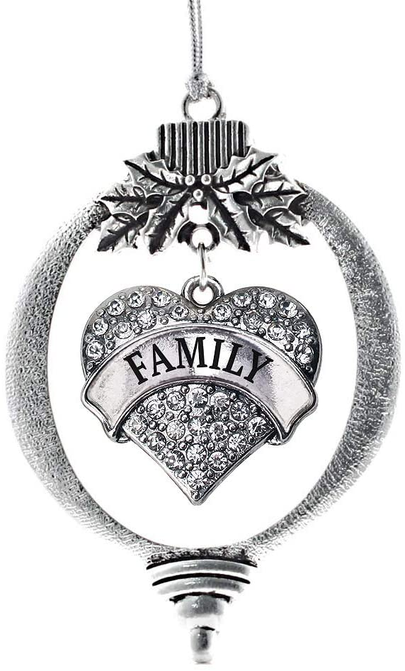 Inspired Silver - Family Charm Ornament - Silver Pave Heart Charm Holiday Ornaments with Cubic Zirconia Jewelry