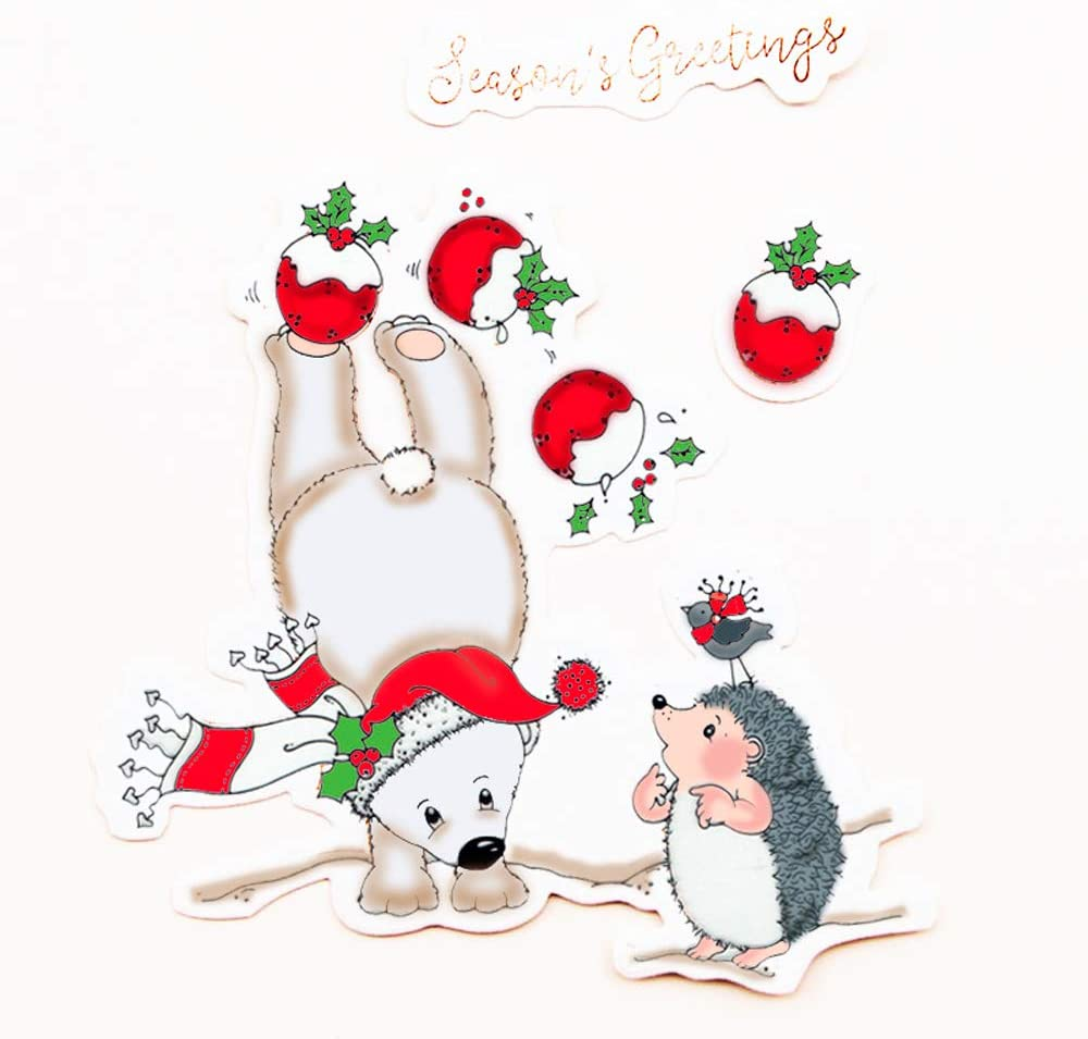 4.1 by 5.8 Inch Polar Bear Hedgehog Bird Season's Greetings Stamps and Die Set for Card Making and Scrapbooking (T1516)