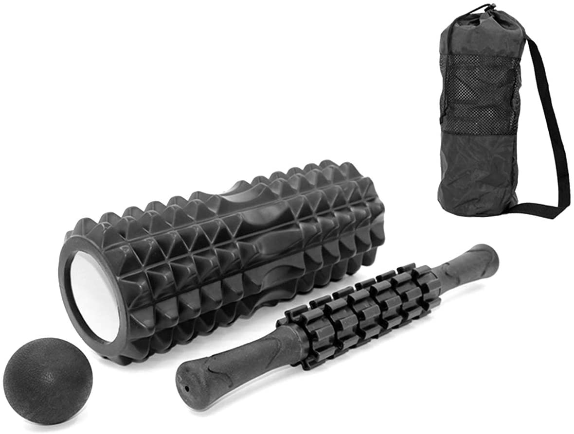 DaMohony 4-in-1 Yoga Roller Set Massage Roller + Muscle Roller Stick + Lacrosse Ball with Carry Bag for Massage Fitness Yoga Pilates