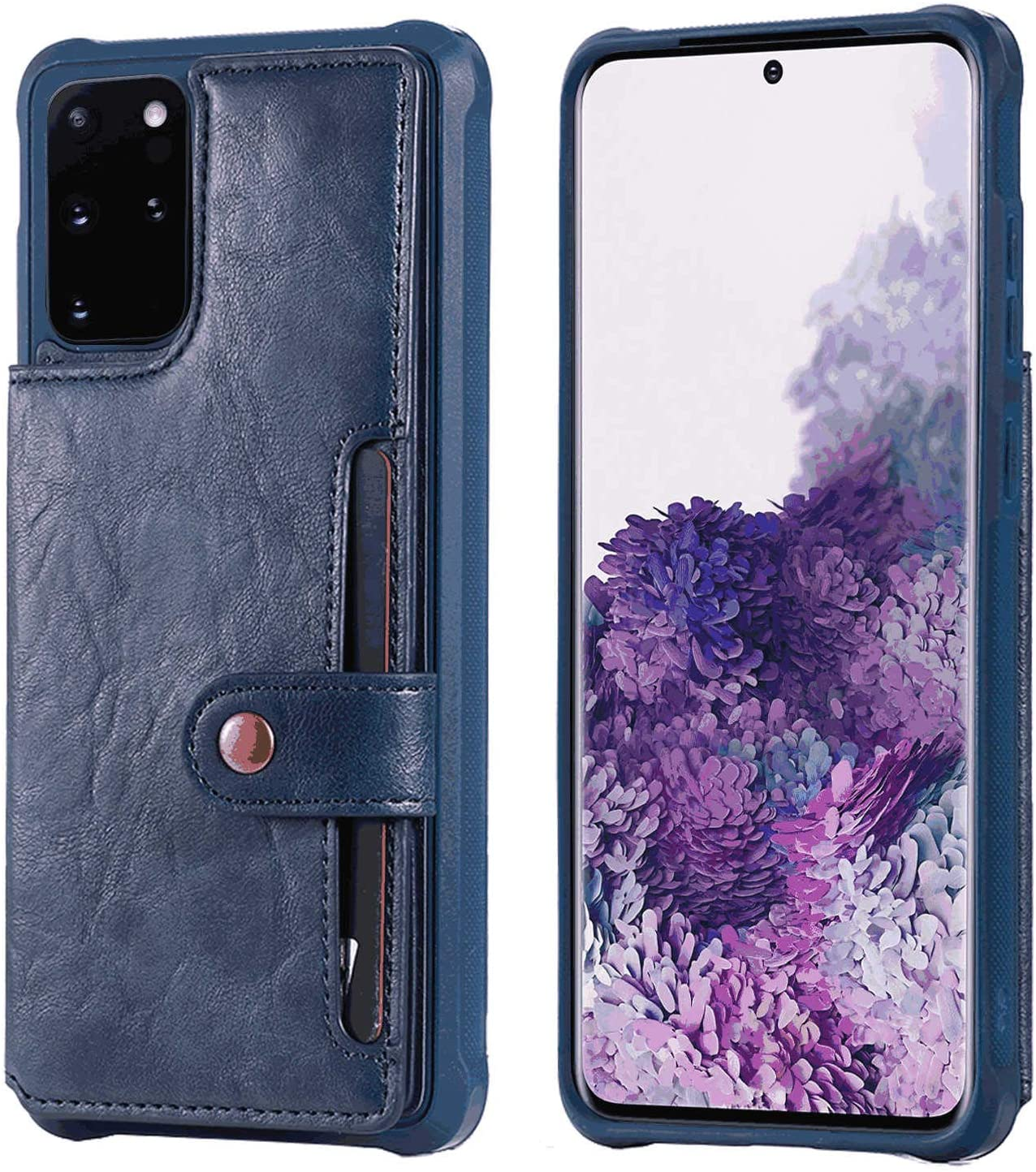 OOALUCK Leather Cover Compatible with iPhone Xs Max, Extra-Shockproof Card Holders Kickstand Blue Wallet Case for iPhone Xs Max