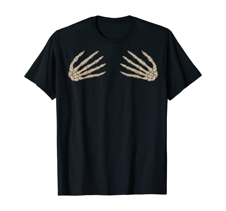 Halloween Skeleton Hand Bra Costume Cute Spooky Gift T-Shirt