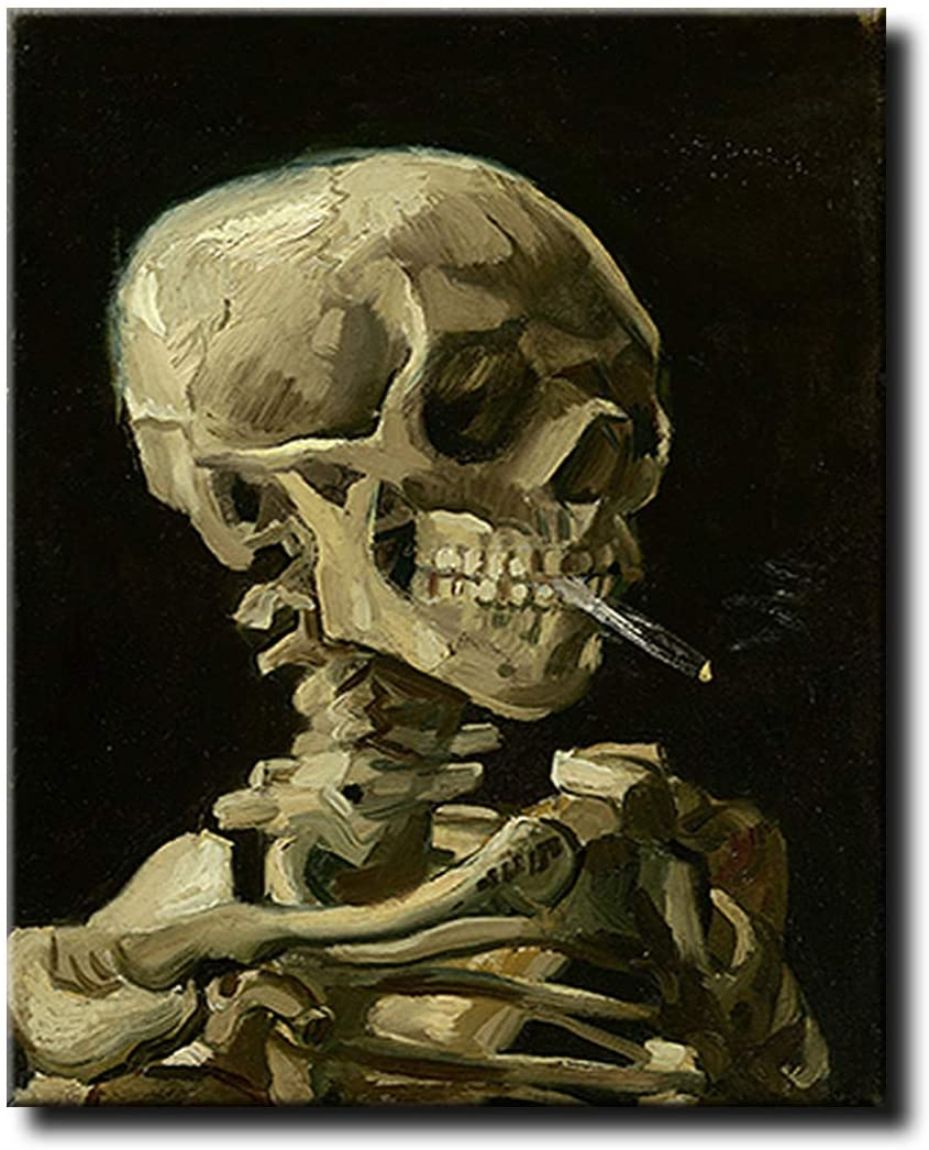 Shukqueen DIY Oil Painting, Adult's Paint by Number Kits, Acrylic Painting Smoking Skeleton 16X20 Inch (Frameless)