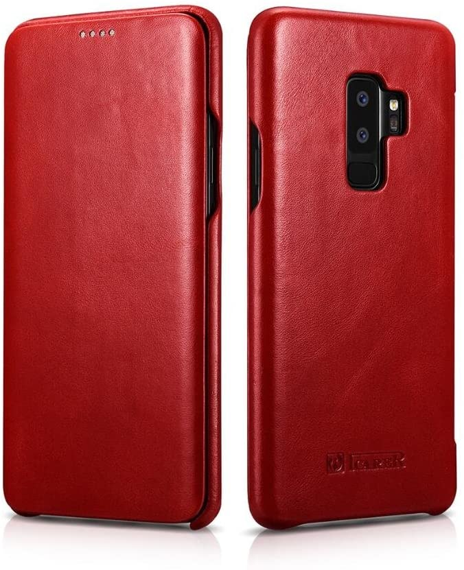 Galaxy S9 Plus Case,HuiFlying ICARER Vintage Classic Series [Genuine Leather][Curved Edge][Full Screen] Slim Side Open Folio Flip Full Body Protective Case for Samsung Galaxy S9 Plus (red)