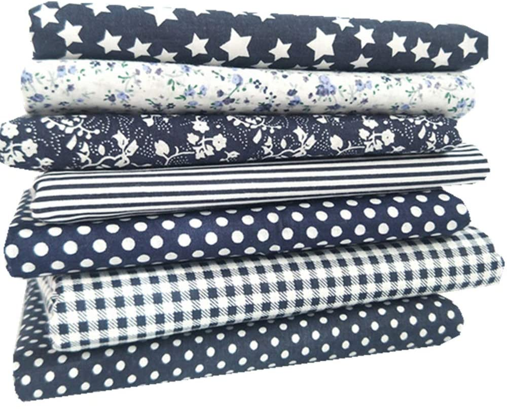 MHUI Fat Quarters Cotton Fabric Material Square Handmade Patchwork 7 Pack Assorted Patterns,2525cm