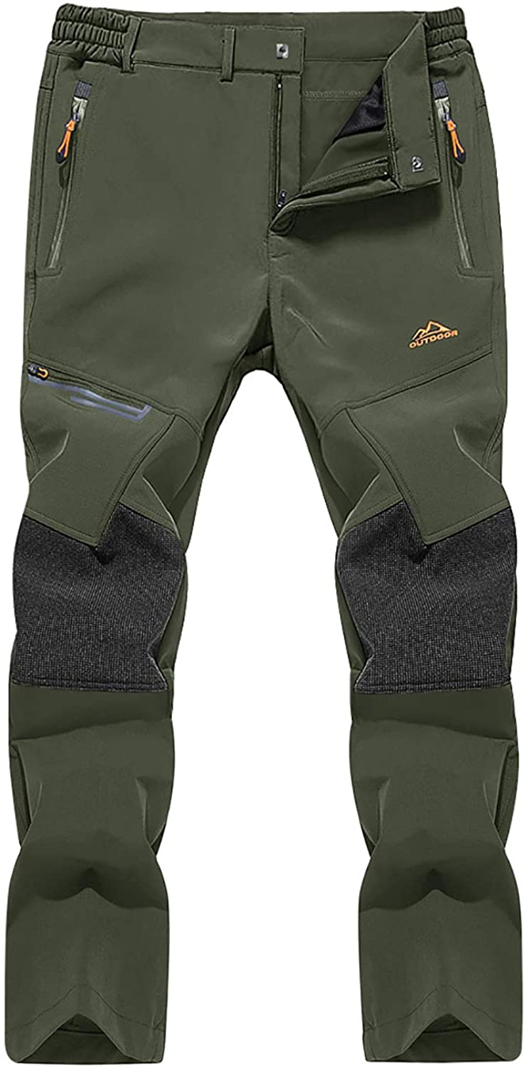 FASKUNOIE Men's Quick Dry Hiking Pants Water Resist Mountain Stretch Sports Pants with Zipper Pockets