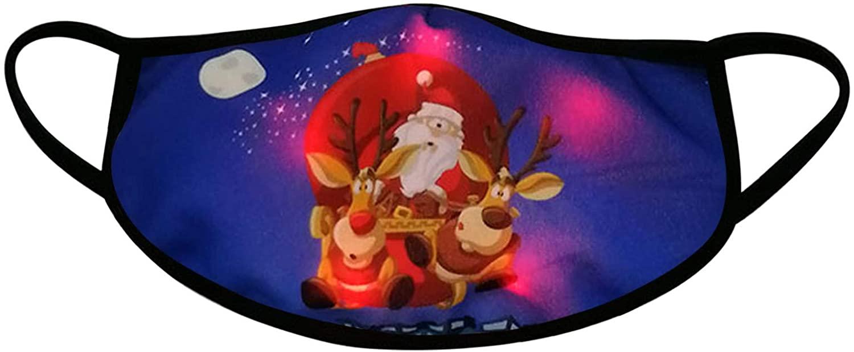 LED Christmas Face_Masks Light Up Anti-spitting Xmas Cotton Bandanas Lights Glowing Mouth Shield for Men Women
