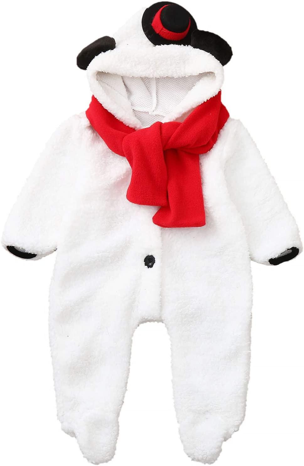 Shirt Luv Newborn Baby Boys Girl Christmas Snowman Fleece Jumpsuit Romper Warm Outwear Boys Romper&Jumpsuit Winter Fall Clothes 2020 Plus Size