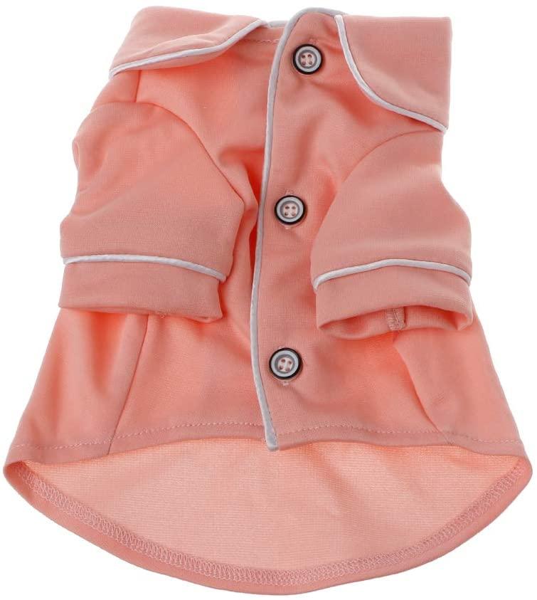 Junlinto Kawaii Dog Pajamas Winter Dogs Jumpsuit Small Dog Clothing Pet Overalls Pink L