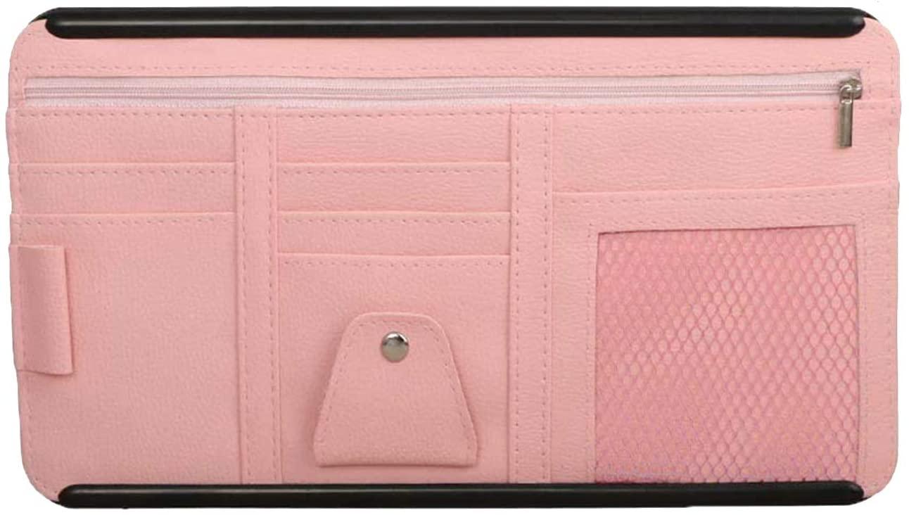 Car Sun Visor Organizer with Adjustable Straps, Auto Interior Accessories Pocket Organizer, Car Sun Visor Case Bag for Pen Document Holder Storage Pouch with Hard Back (Pink)