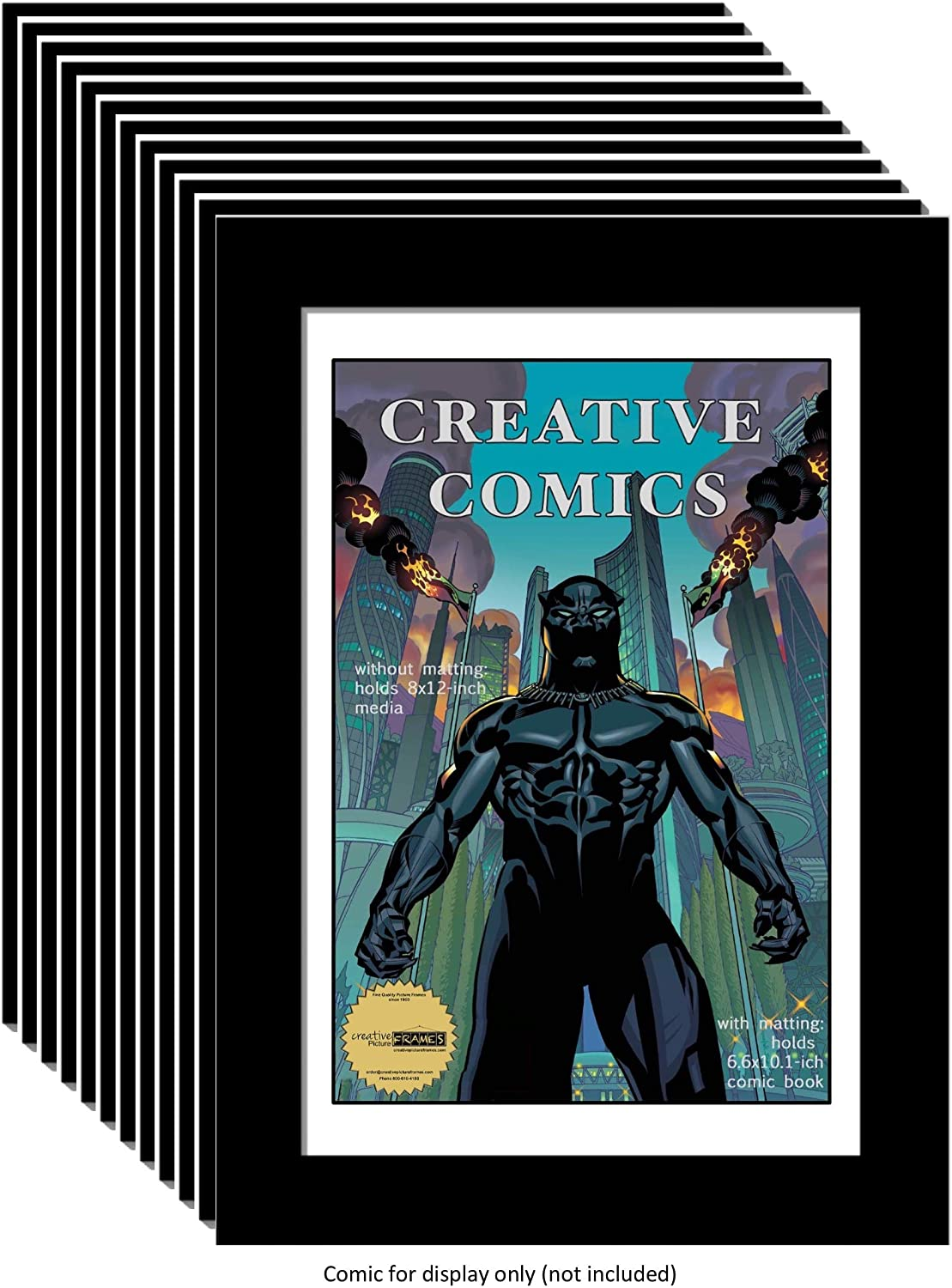 CreativePF [12pk8x12bk-w] Collectors Art Comic Book Frame with White Mat, Insert for 6.6x10.1 Comic w/Easel Stand and Wall Hanger (12-Pack)
