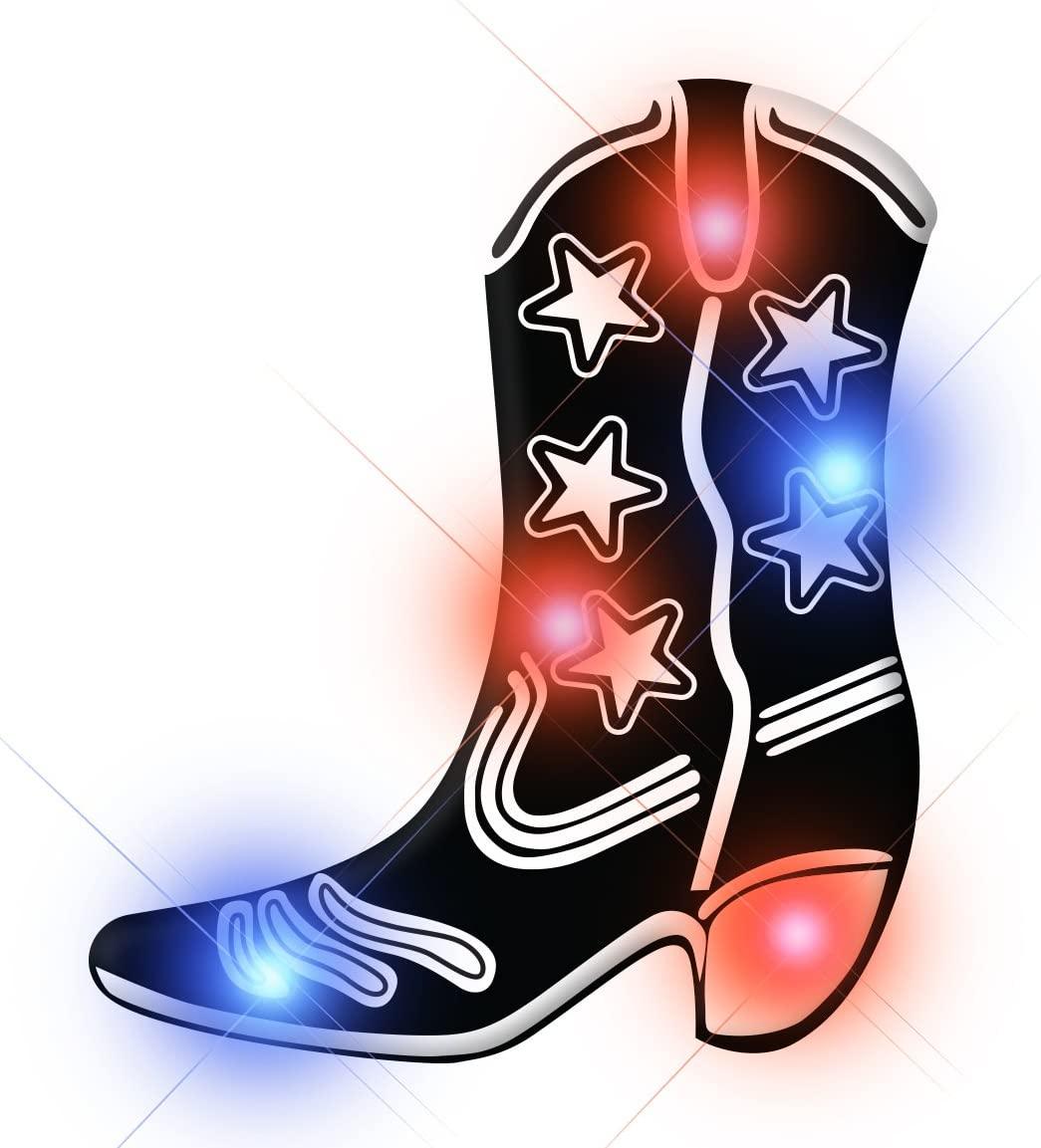 Light Up Black Cowboy Boot Flashing Blinking LED Body Light Lapel Pins (Set of 25)