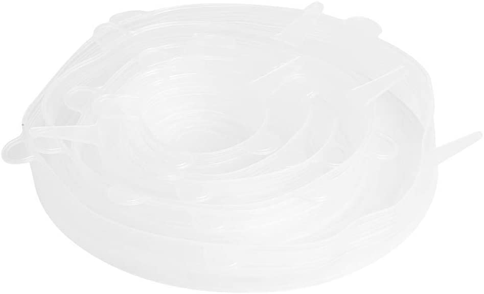 Food Bowl Lid, Stretch Cover Lids Fresh Cover, for Bowl, Container Home Kitchen(Six-piece set-white)