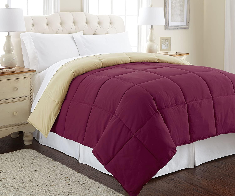 Amrapur Overseas Down Alternative Microfiber Quilted Reversible Comforter/Duvet Insert Ultra Soft Hypoallergenic Bedding-Medium Warmth for All Seasons, King, Anemone/Wheat