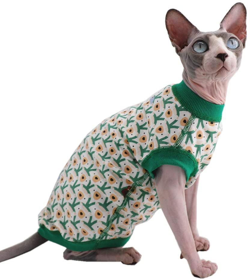 Sphynx Hairless Cat Purple Bunny Pattern Breathable Summer Cotton T-Shirts Pet Clothes,Round Collar Vest Kitten Shirts Sleeveless, Cats & Small Dogs Apparel (XXL (11-13 lbs), Green Bears)