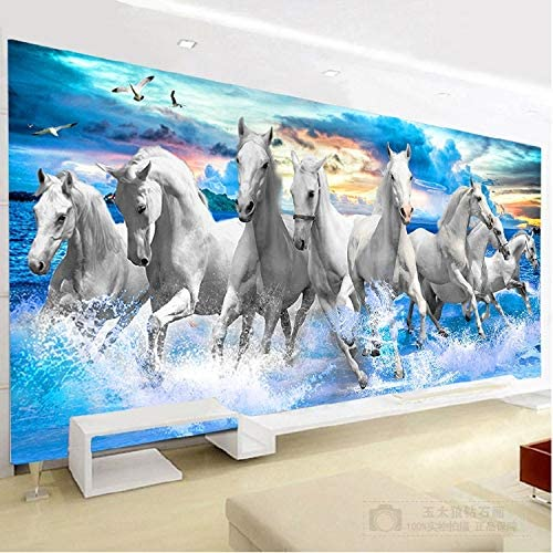 RAILONCH 5D Diamond Painting by Number Kit for Adult, Full Drill DIY Cross Stitch Kits Rhinestone Embroidery Paintings Arts Craft for Home Wall Decor(White Horse) (100X50CM)