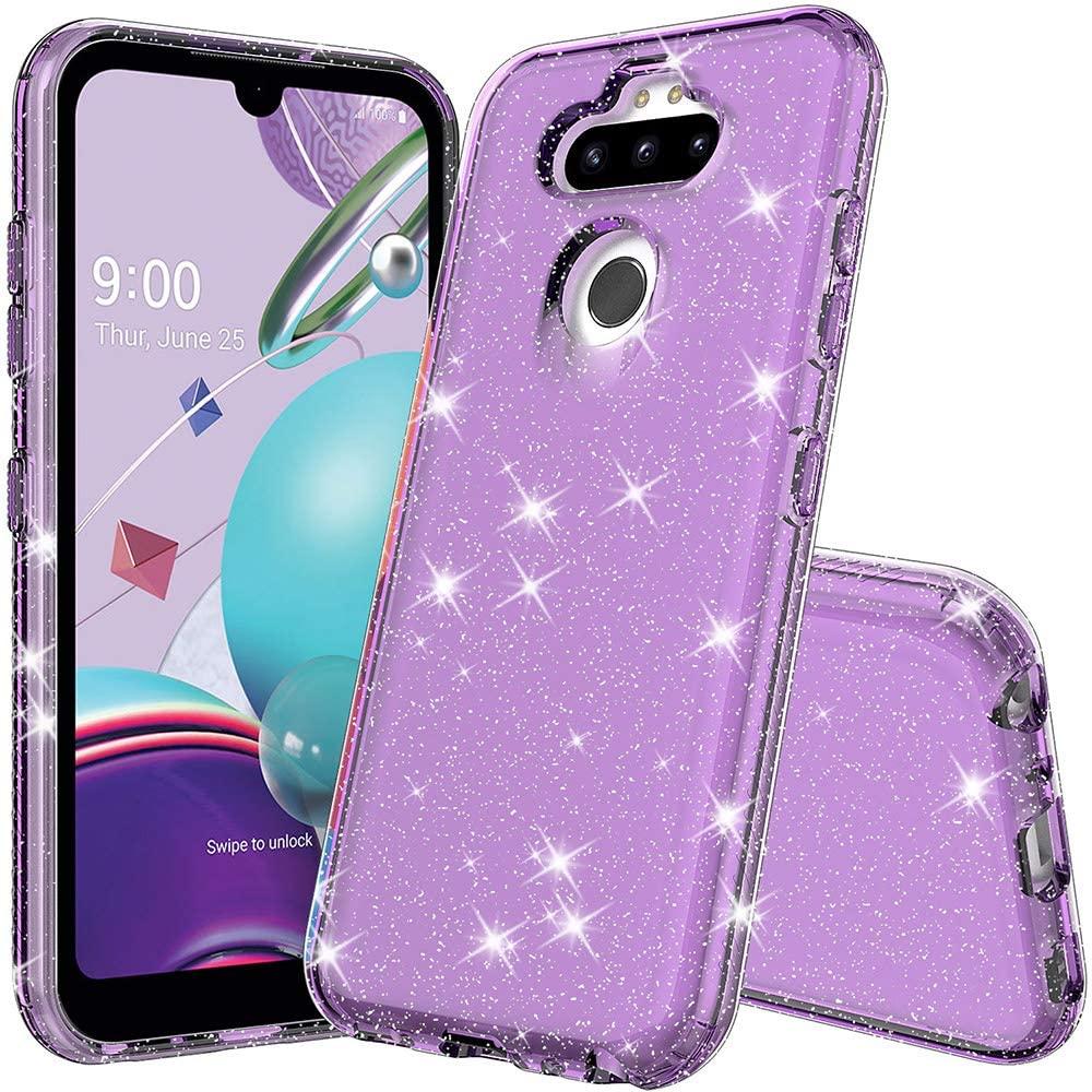 wegoodsun LG Aristo 5/Aristo 5 Plus/Tribute Monarch/Risio 4/Phoenix 5/Fortune 3/K8X Phone case,Shiny Glitter Slim Thin Clear Soft Rubber Sparkle Bling Designed Protective Phone Case(Purple Quartz)