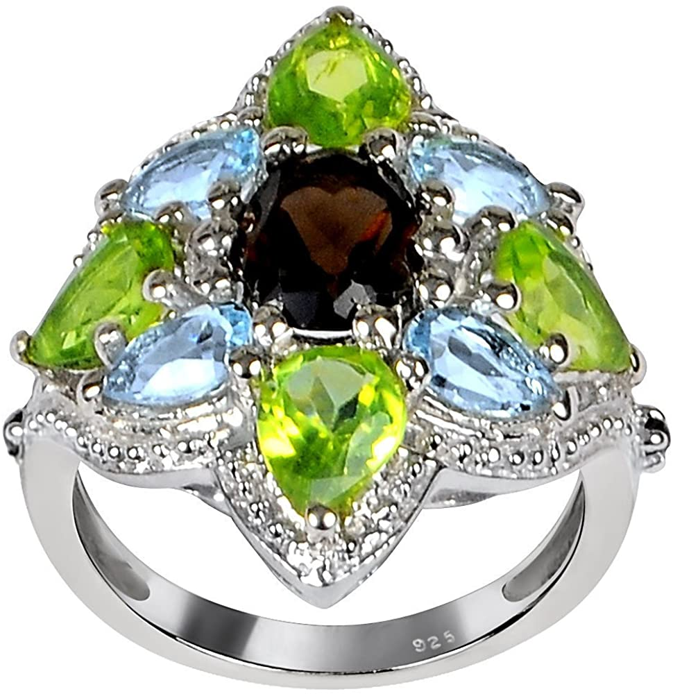 6.20 Ct Oval Brown Smoky Quartz and Peridot Cluster 925 Sterling Silver Ring For Women By Orchid Jewelry