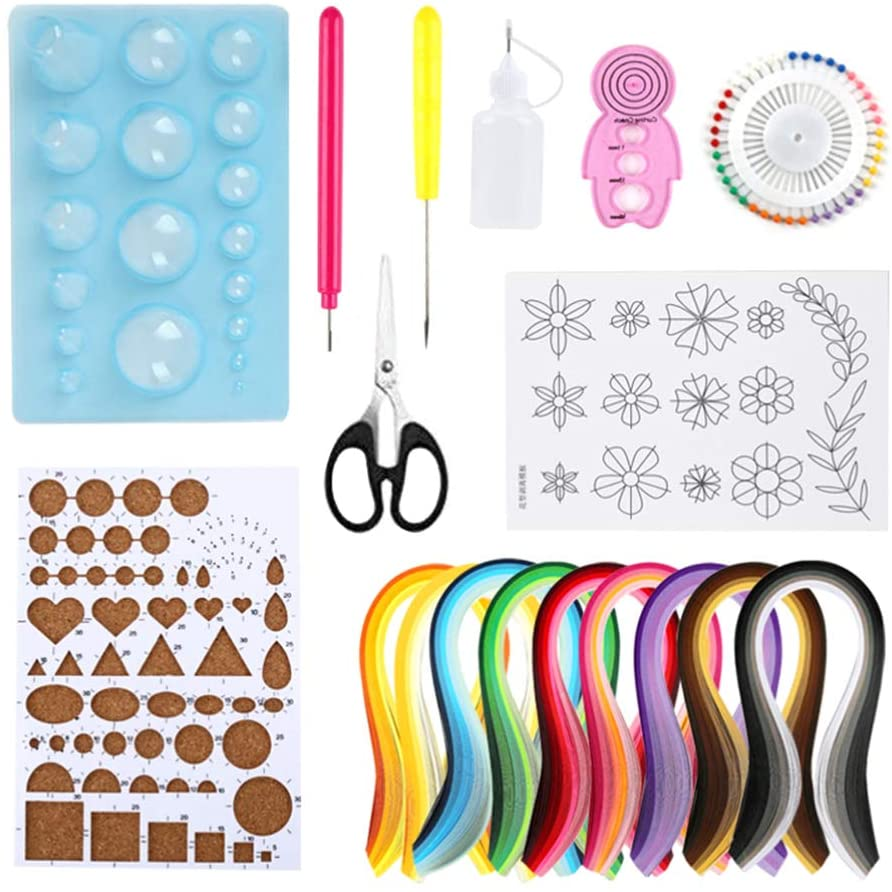 Exceart 18pcs Paper Quilling Set with Quilling Art Strips and Paper Crafts DIY Projects Color Sheet Arts Craftwork Craft Supplies
