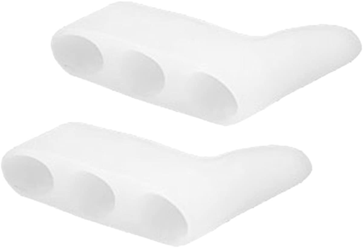OULII 1 Pair Gel Toe Separator Straightener Corrector Toe Spacer for Pinky Toe (White)