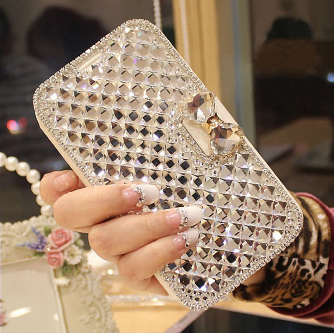 Galaxy S5 Case,Galaxy S5 Neo Case,Luxury 3D Bling Crystal Rhinestone Flip Wallet Case PU Leather Scratch Resistant Stand Card Slots Case +Touch Pen Dust Plug for Galaxy S5 / S5 Neo,White