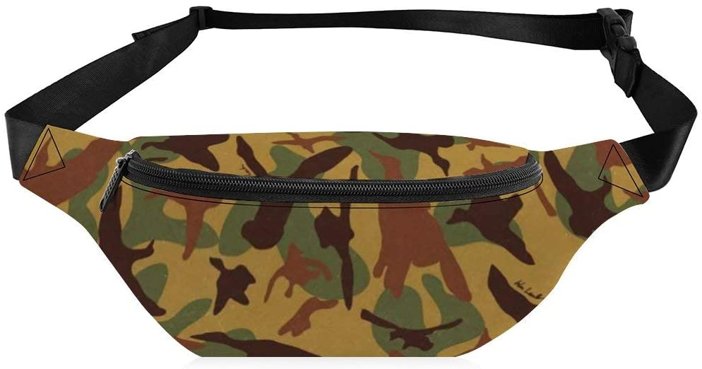 Travel Waist Bag for Men Women Yellow Camouflage Pattern Comfortable Crossbody Water Resistant Fanny Pack for Workout Outdoor Running