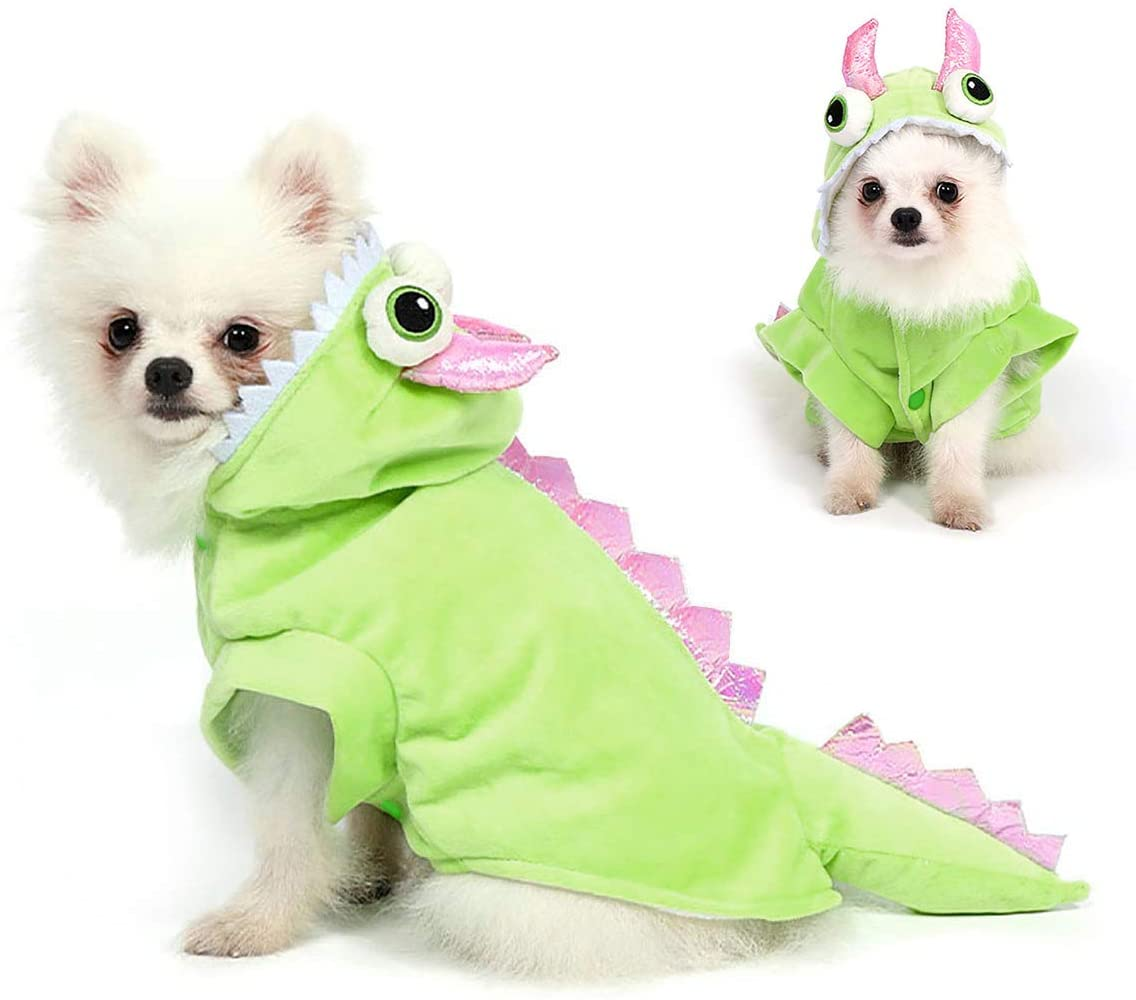 Filhome Dog Dragon Costume Pet Halloween Christmas Cosplay Dinosaur Costumes Puppy Cat Winter Coat Hoodie Clothes
