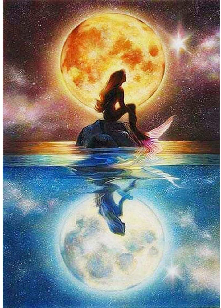 5D Diamond Painting by Number Kit, Bright Moon Full Drill Embroidery Cross Stitch Picture Supplies Arts Craft Wall Sticker Decor (11.8x15.7in)