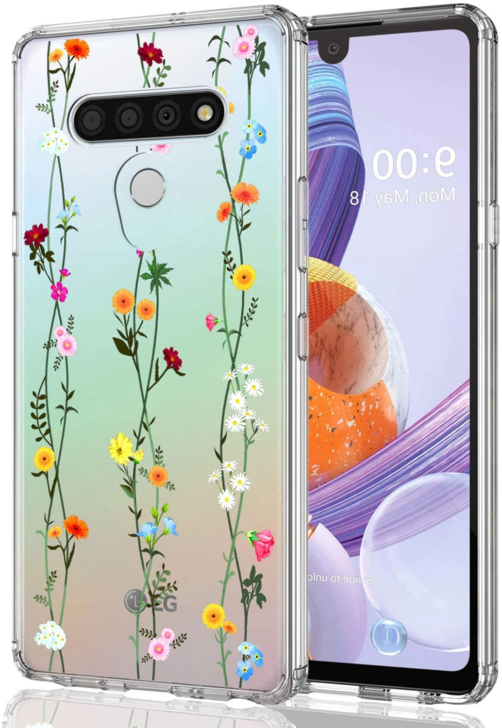 LEXNEC Case for LG Stylo 6,LG Stylo 6 / LG LMQ730TM Case Clear Design,Girls Women Floral Flower Heavy Duty Protective Hard PC Back Case with Slim Soft TPU Bumper Phone Case (6.8