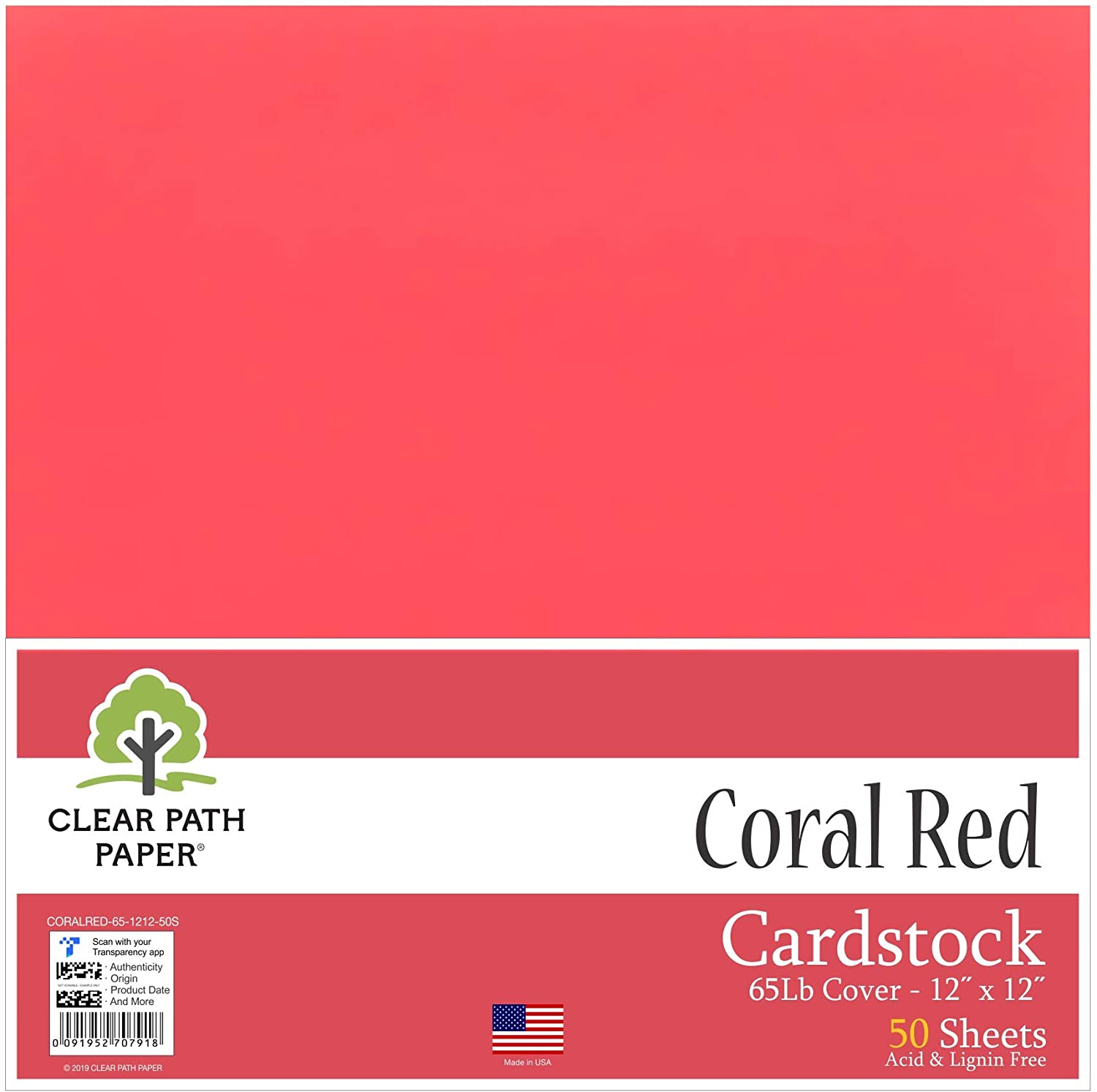 Coral Red Cardstock - 12 x 12 inch - 65Lb Cover - 50 Sheets - Clear Path Paper