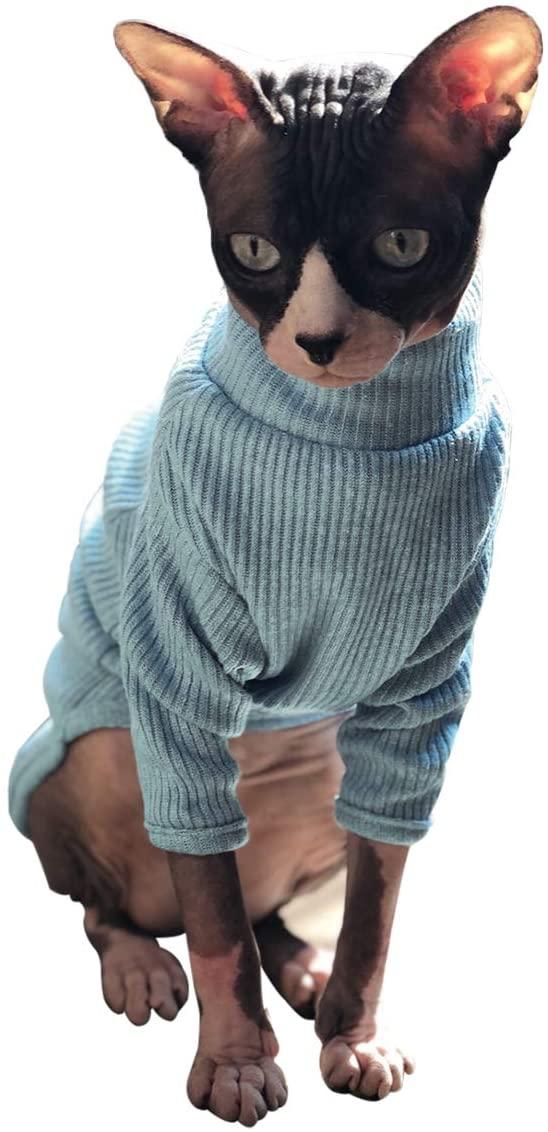 Bonaweite Hairless Cats Vest Turtleneck Sweater, Breathable Adorable Cat Wear Shirt Clothes, Cats Pajamas Jumpsuit for Sphynx, Cornish Rex, Devon Rex, Peterbald