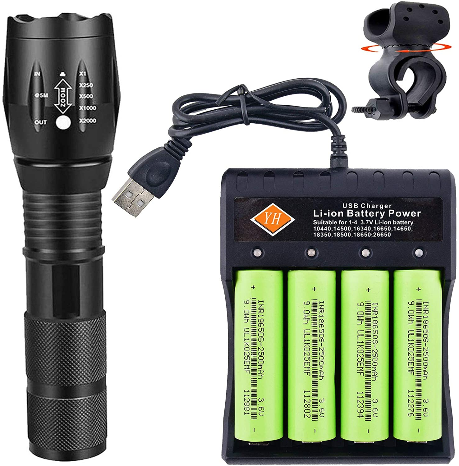 Led 18650 Tactical Flashlight,Super Bright Flash Lights 2000 Lumens Handheld Torch with 4x Rechargeable Battery & 4-Slot Battery Charger for Camping, Outdoors, Emergency, Everyday Portable Flashlights