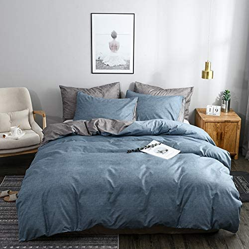 ARYURBU Washed Duvet Cover Set Full Queen Size with Zipper Closure,Ultra Soft Hypoallergenic Comforter Cover Sets 3 Pieces (1 Duvet Cover + 2 Pillow Shams), 90X90 inches (Grey Blue, 90