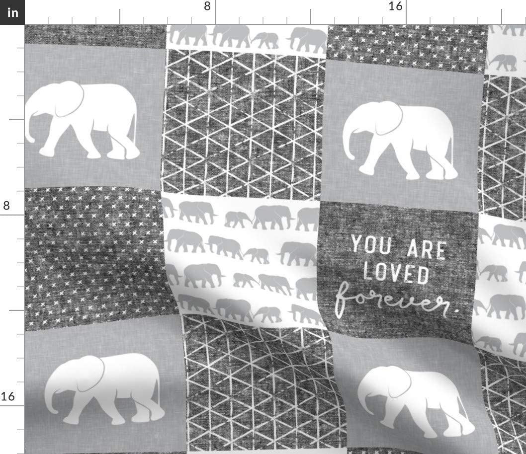 Spoonflower Fabric - Elephant Wholecloth Cheater Quilt Top Loved Patchwork Elephants Baby Printed on Minky Fabric by The Yard - Sewing Baby Blankets Quilt Backing Plush Toys