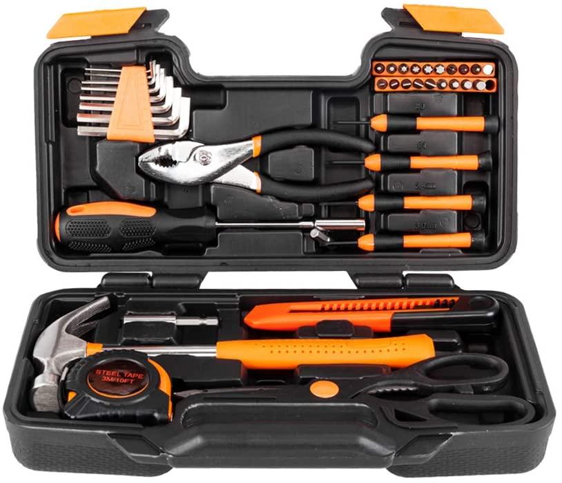 Goujxcy 39-Piece Tool Set,General Repair Hand Tool Set with Tool Box Storage Case (Orange)