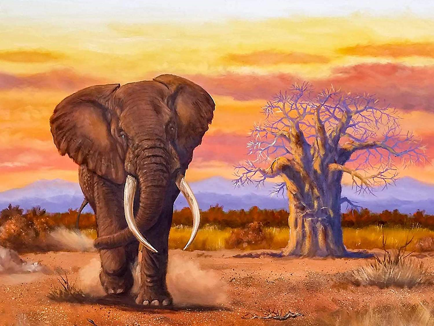 Bimkole DIY 5D Diamond Painting Kit Elephant Tree by Number Kits Paint with Diamonds Arts DIY for Home Decor, 16x20 inch(m4-562)