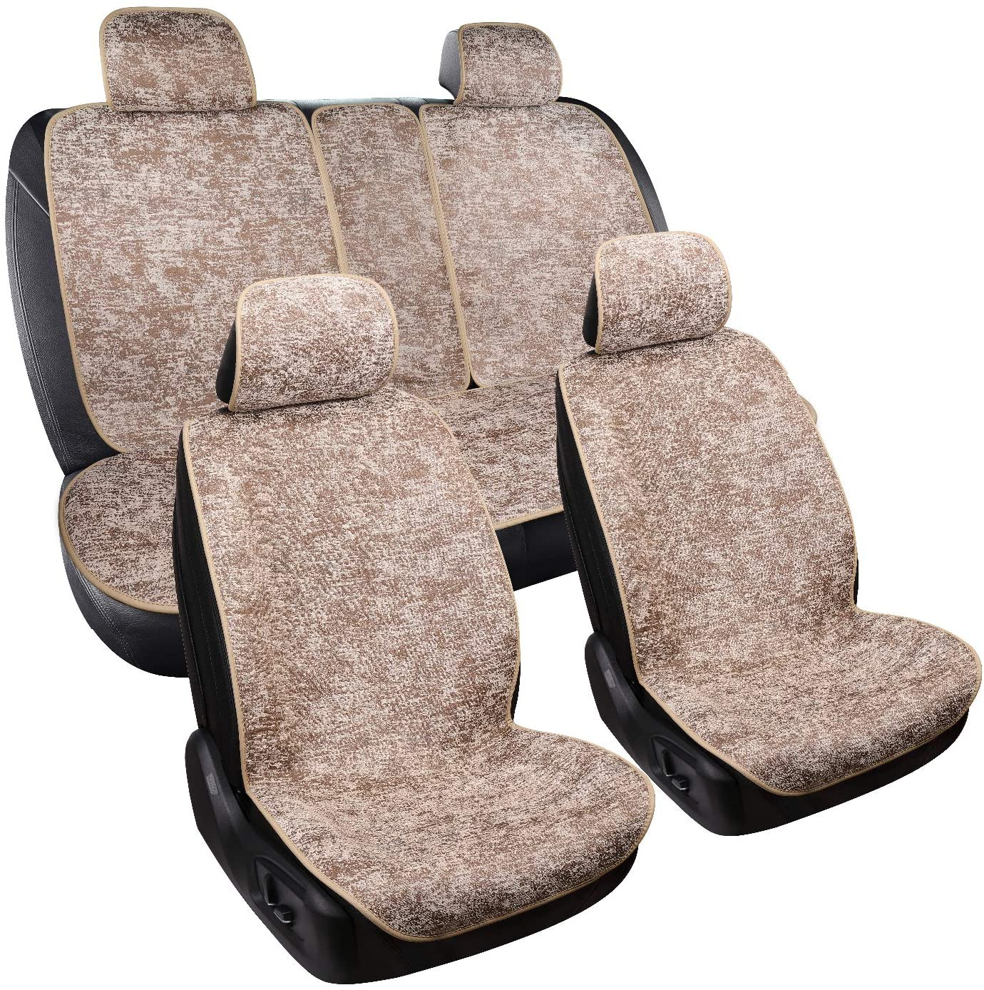WFMJ Beige Chenille Fabric Vehicle Car Seat Covers 5 Seats Full Set Cushion Universal Fit for Toyota Dodge BMW Nissan Honda Jeep All Sedan Most SUV and Small Pick-Up Truck