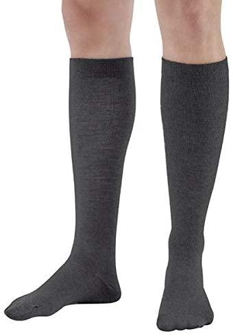 AW Style 162 Men's Wool Knee High Dress Socks 20 30 mmHg Charcoal Medium