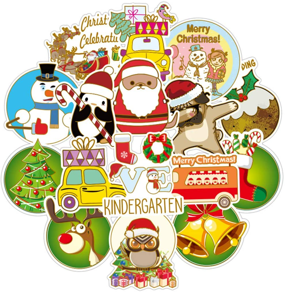 50PC Merry Christmas Stickers Vinyl Waterproof Xmas Stickers Cute Decals for Laptop Skateboard Planner Luggage Bottle Decorations, Graffiti Patches for Window Wall Decoration, Funny Kids Gifts