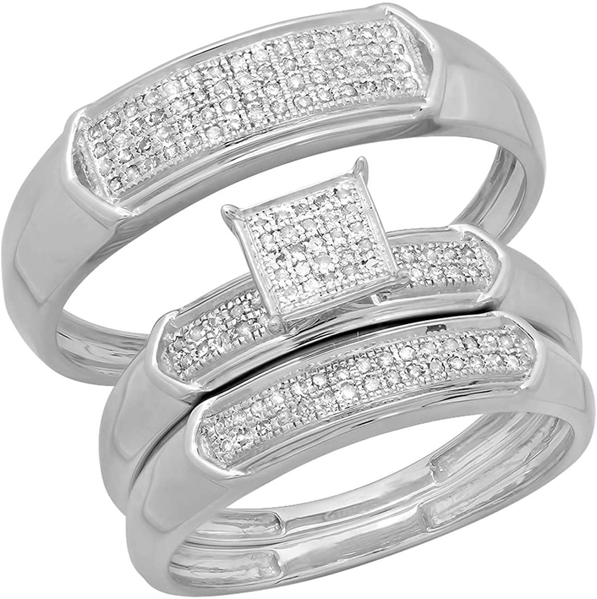 Dazzlingrock Collection 0.30 Carat (ctw) Round White Diamond Men & Women's Micro Pave Trio Bridal Wedding Set 1/3 CT, 10K White Gold