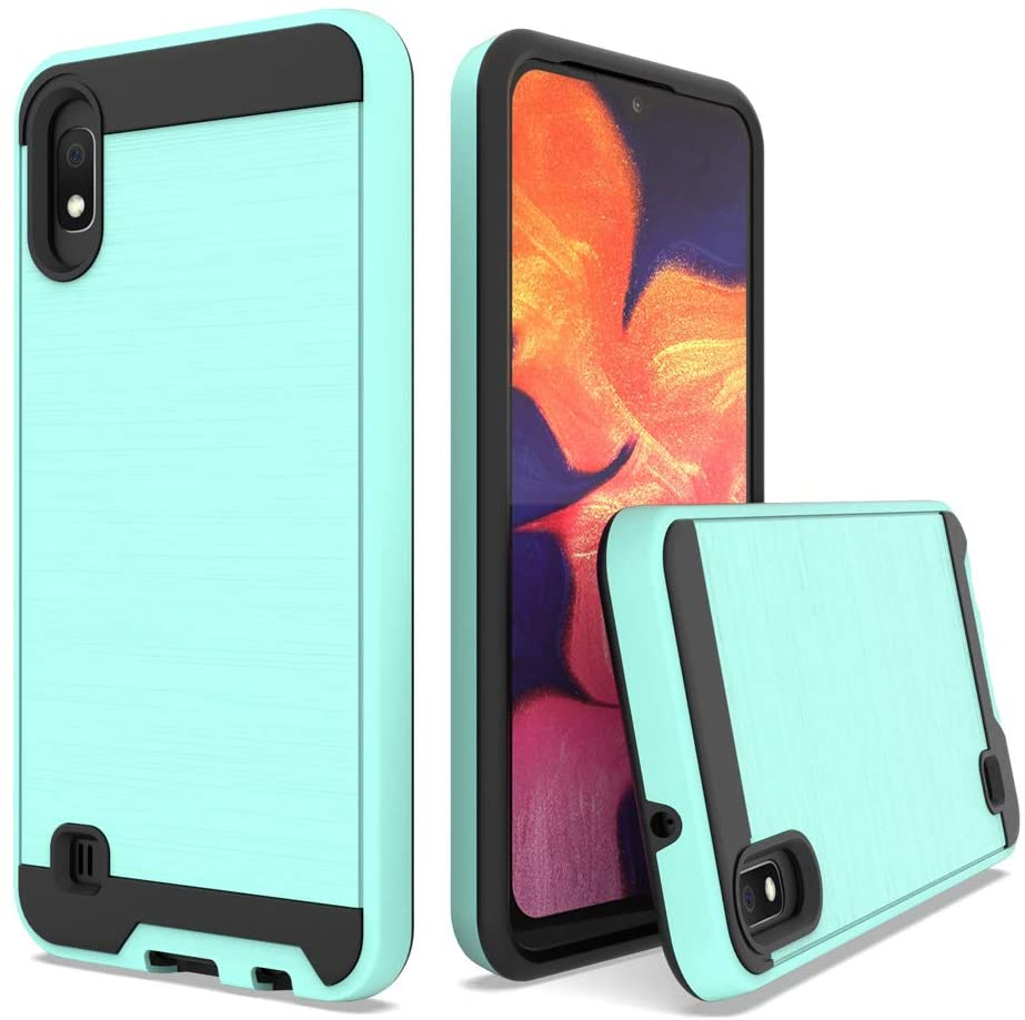 Telegaming Samsung Galaxy A10 Case, with Tempered Glass Screen Protector, Hybrid Brushed Armor Case Dual Layer Shockproof Hard Back Cover for Samsung Galaxy A10 Mint