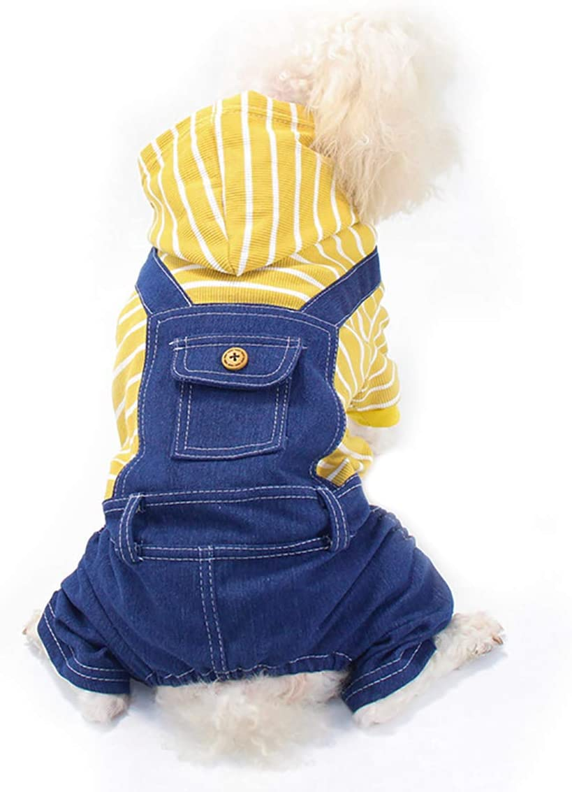 HOODDEAL Dog Shirts Stylish Yellow Striped Overalls Jeans Jumpsuit One-Piece Hoodie Jacket Costumes Cozy Adorable Outfit Coat Pet Clothes for Small Puppy Medium Dogs Cats