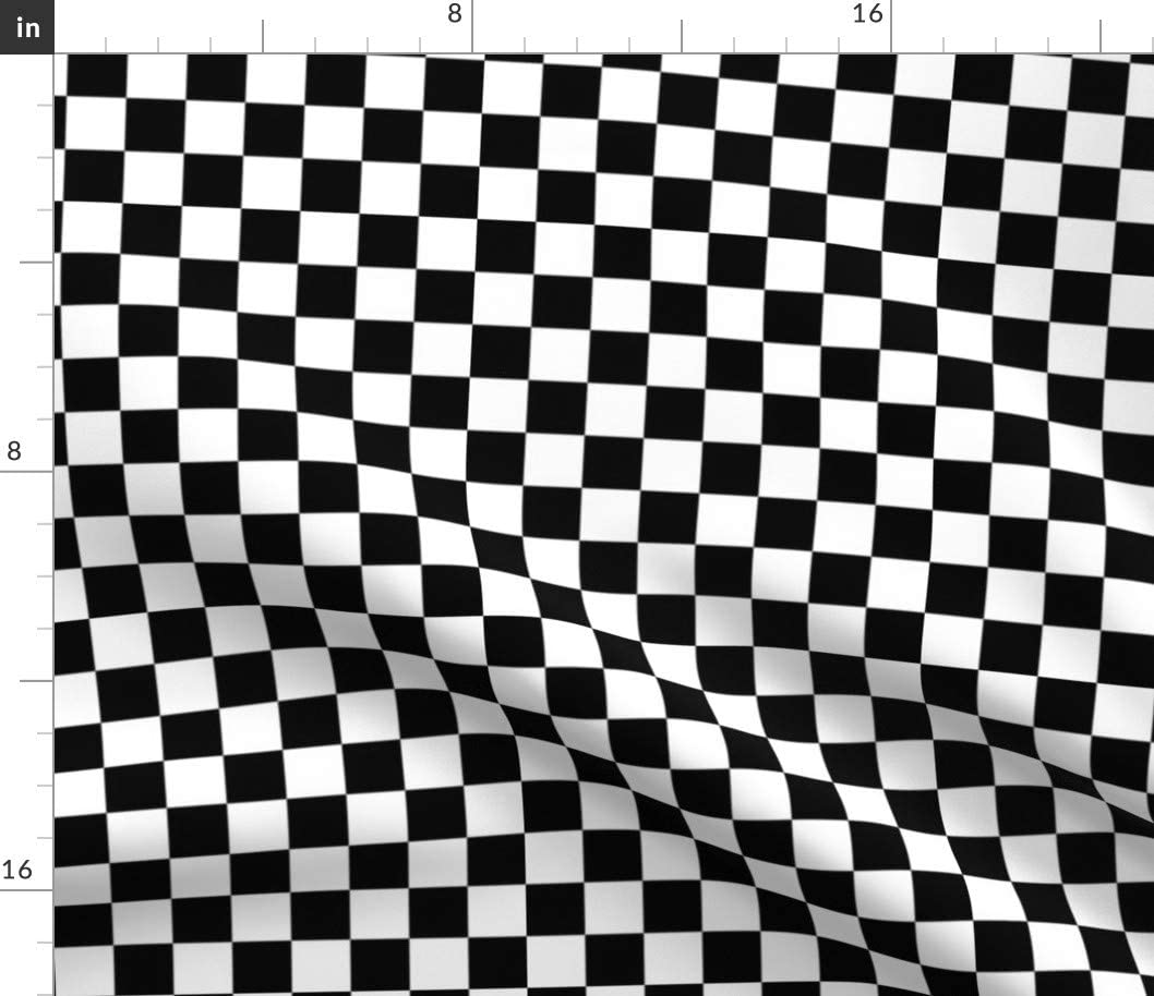 Spoonflower Fabric - Black White Checked Check Squares Retro Printed on Minky Fabric by The Yard - Sewing Baby Blankets Quilt Backing Plush Toys